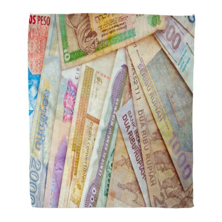 ASHLEIGH Flannel Throw Blanket Green International of Different Currencies Money Transfer Abundance Bank 50x60 Inch Lightweight Cozy Plush Fluffy Warm Fuzzy (Airtel Money Transfer To Bank A C)