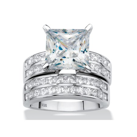 Princess-Cut Cubic Zirconia 2-Piece Channel-Set Wedding Ring Set 5.15 TCW in Platinum over Sterling Silver Diana Platinum Wedding Ring