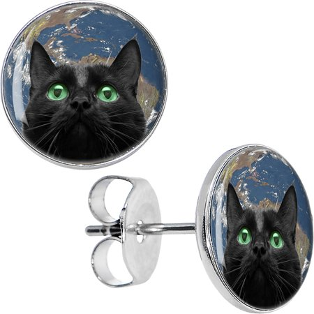 Body Candy Stainless Steel Black Cat World Takeover Stud Earrings](Cat Ear Ring)