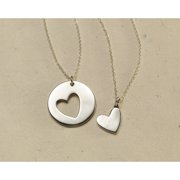Women's Shared Heart Sterling Silver Friendship Pendant Necklaces - Set Of Two
