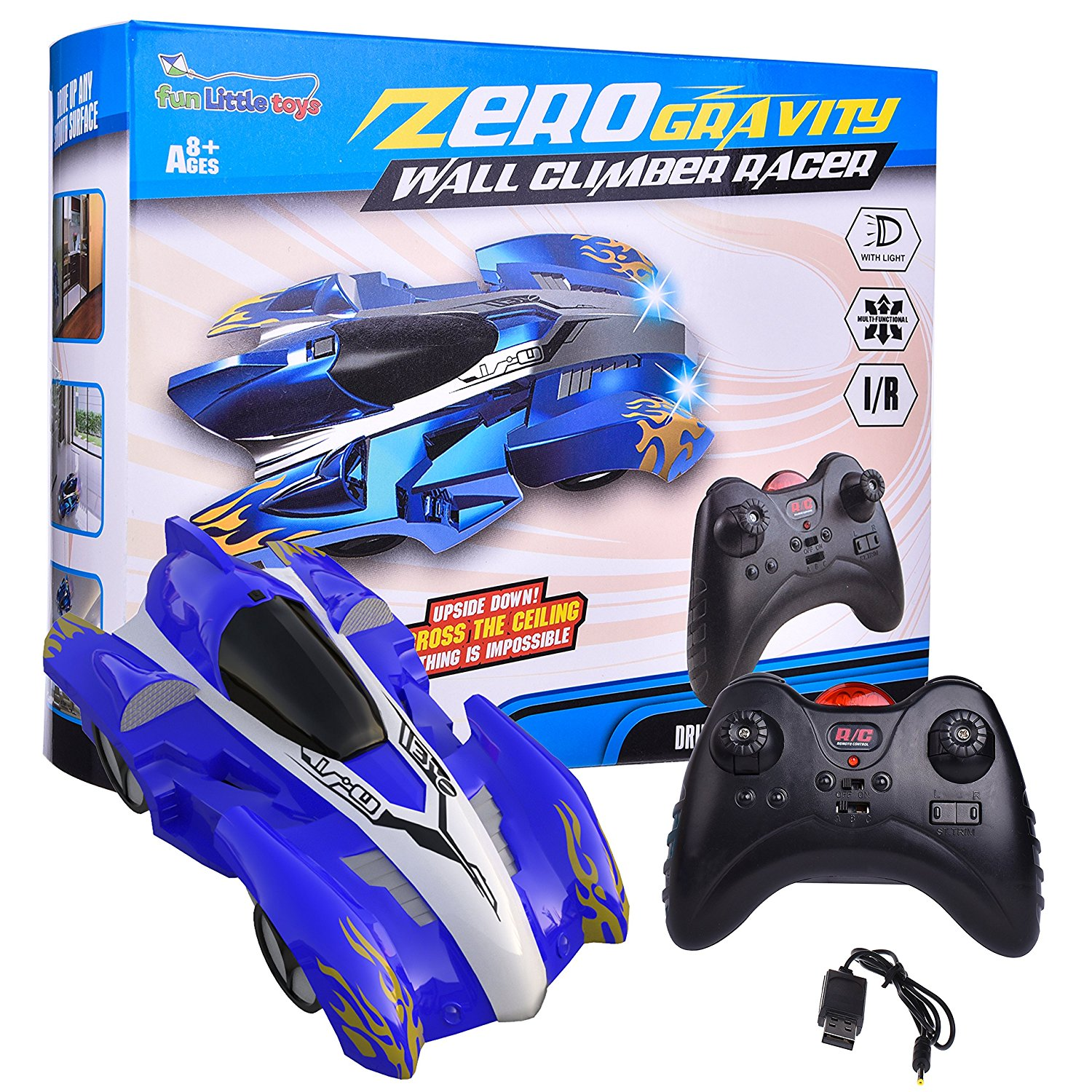 Wall Climbing Zero Gravity Remote Control Racer Vehicle Drive Up Any Smooth Surface, Boy's Birthday Party Gift Electrical RC Driving Car Instruction Guide F-86