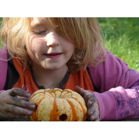 Canvas Print Girl Play Halloween Out Pumpkin Children Autumn Stretched Canvas 10 x - Halloween Pumpkin Print Out