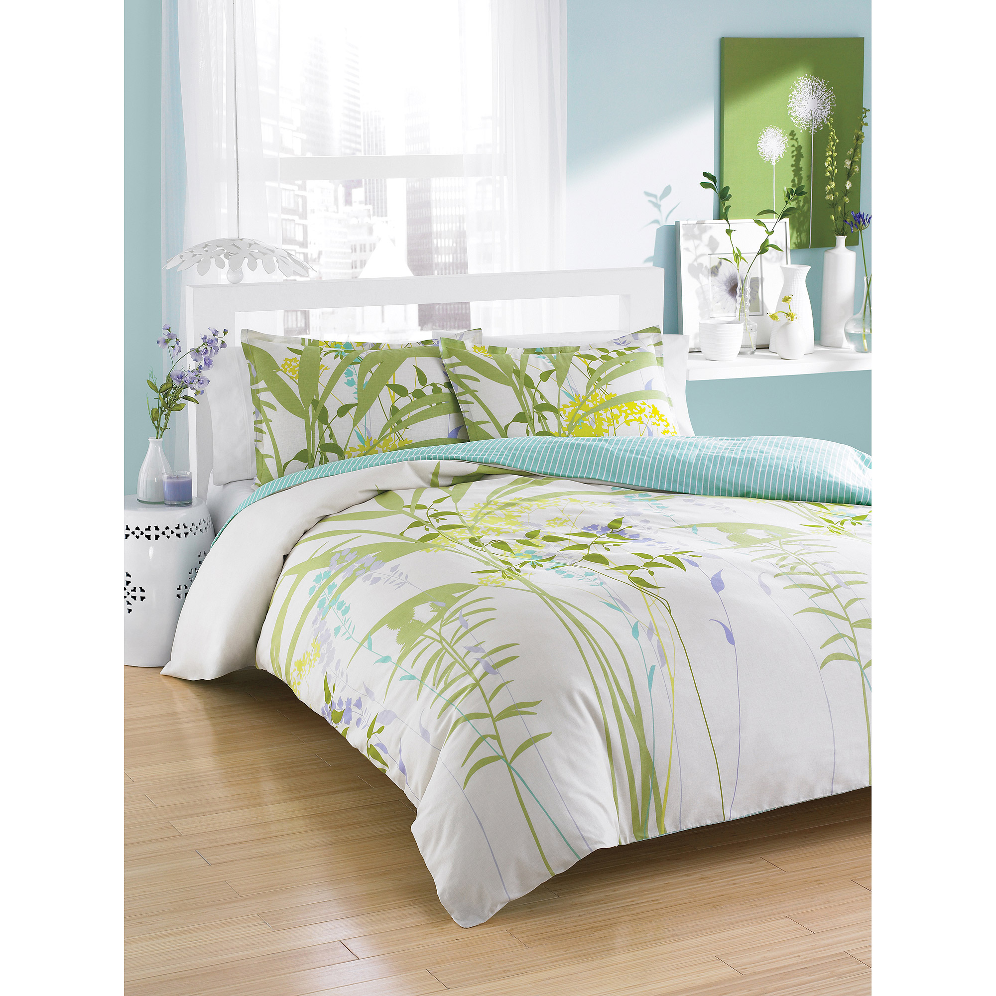 City Scene Mixed Floral Bedding Comforter Set, Green