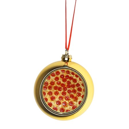 Pepperoni Pizza Bauble Christmas Ornaments Gold Bauble Tree Xmas Balls