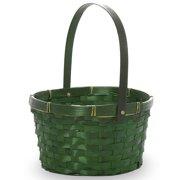 Green Swing Handle Oval Bamboo Basket 8in