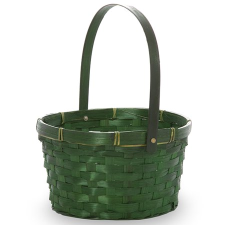 Green Swing Handle Oval Bamboo Basket 8in Green Polypropylene Oval Basket