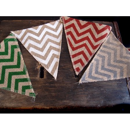 Triangle Flag Case (Quasimoon Burlap w/ Multi-Color Chevron Pattern Triangle Flag Pennant Banner (12 Ft) by)