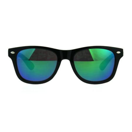 Kids Color Mirror Boys Black Plastic Horn Rim Hipster Sunglasses Teal - Teal Sunglasses