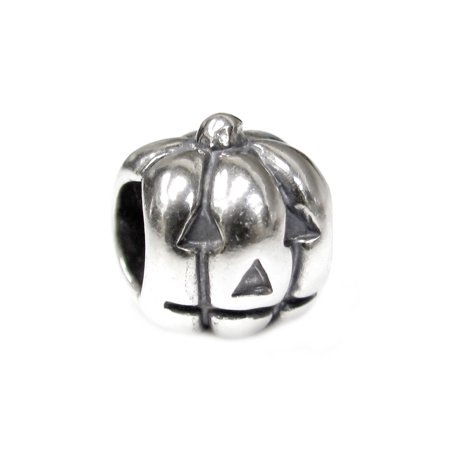Queenberry  Sterling Silver Petite Jack-o-lantern European Style Bead Charm Fits Pandora ()