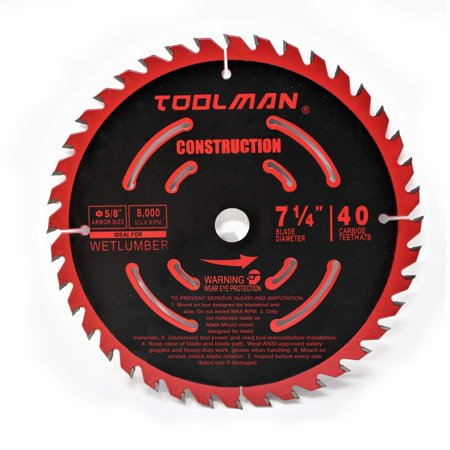 "Toolman Circular Saw Blade Universal Fit 7-1/4"" 5/8"" 40T Carbide Tip Table Miter Saw For Wood cutting works with DeWalt Makita Ryobi"