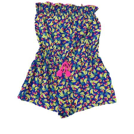Womens Blue Watermelon Banana Romper Swim Suit Cover Up Tropical Fruit Cover-Up - Watermelon Suit