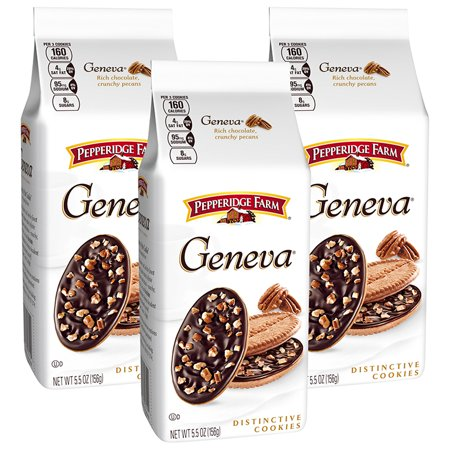 (3 Pack) Pepperidge Farm Geneva Chocolate & Pecan Covered Cookies, 5.5 oz. Bag