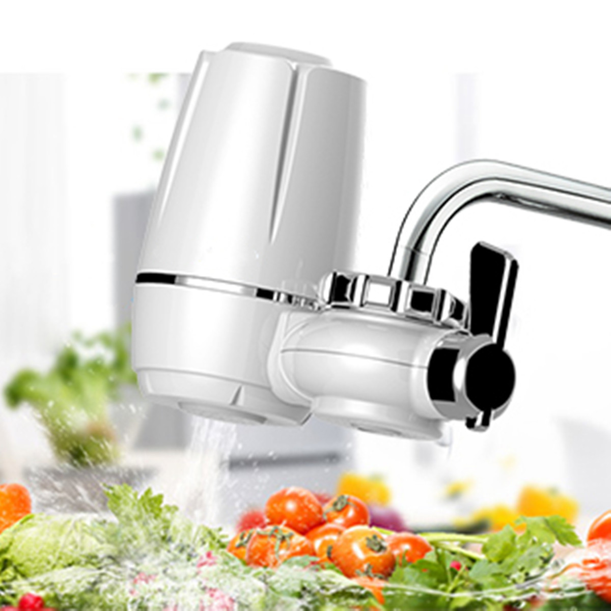 Home Kitchen Tap Faucets Water Filter Mount Water Purifier Strainer Cleaner+ Washable Ceramic Cartridge