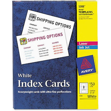 Avery 5388 Unruled 3x5 Index Cards for Laser/Inkjet Printers, 150/Box PAIR WITH Avery Self-Adhesive Business Card Holders, Top Load, 3-1/2 x 2, Clear, 10/Pack