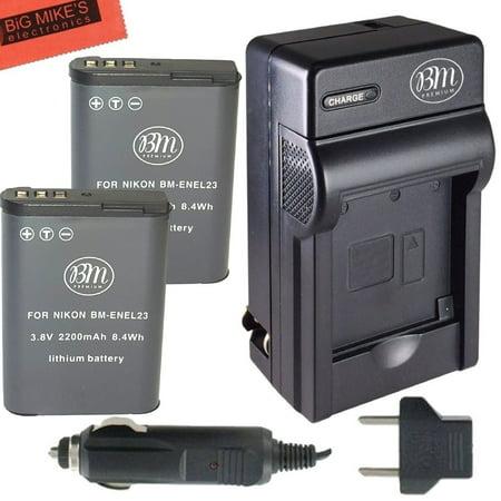 BM Premium 2 Pack of EN-EL23 Batteries and Battery Charger for Nikon Coolpix B700, P900, P600, P610, S810c Digital - Dx7590 Digital Camera Battery