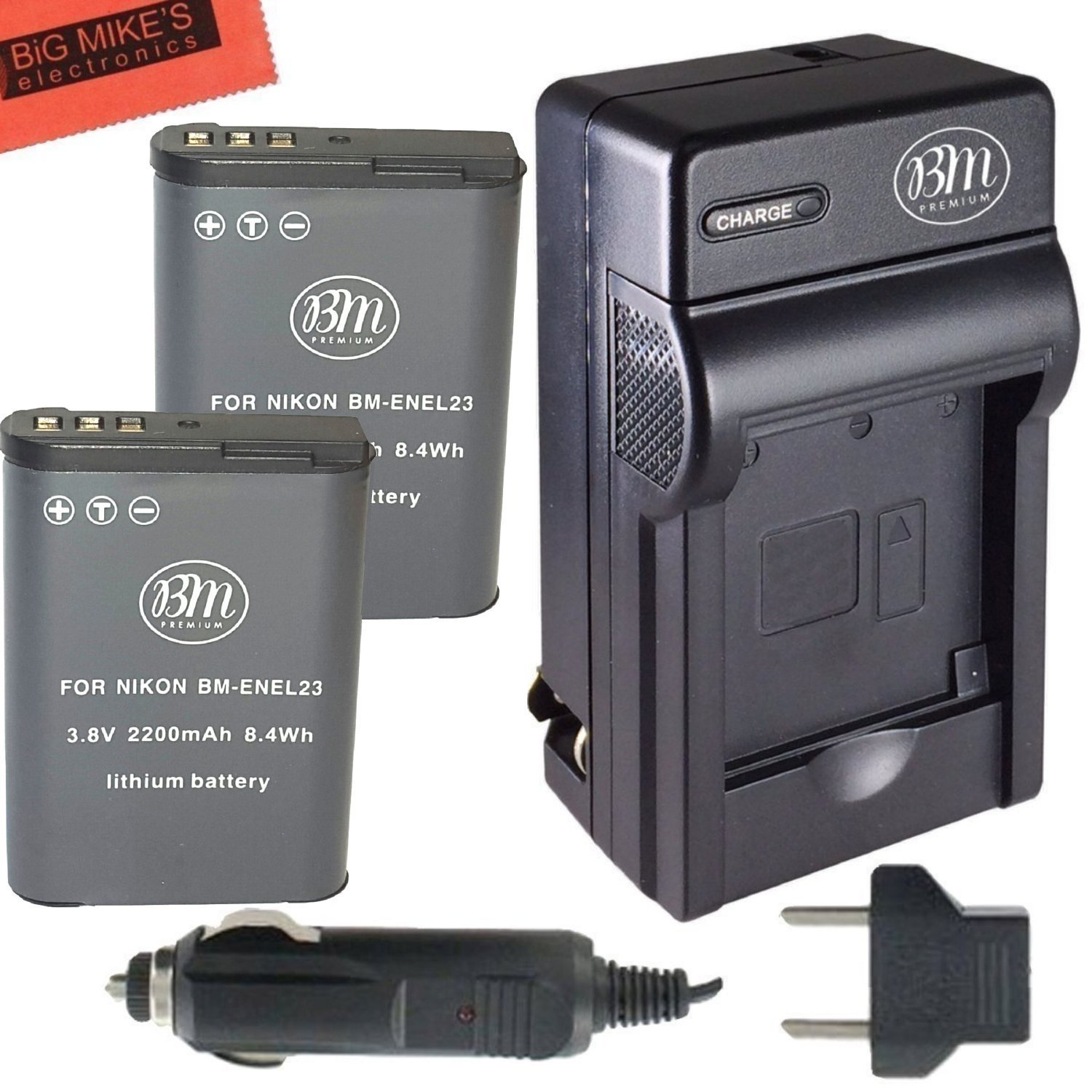 BM Premium 2 Pack of EN-EL23 Batteries and Battery Charger for Nikon Coolpix B700, P900, P600, P610, S810c Digital Camera
