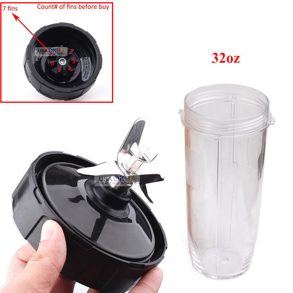 7 Fin Extractor Blade Assembly +32oz Cup for Nutri Ninja Blender Auto iQ
