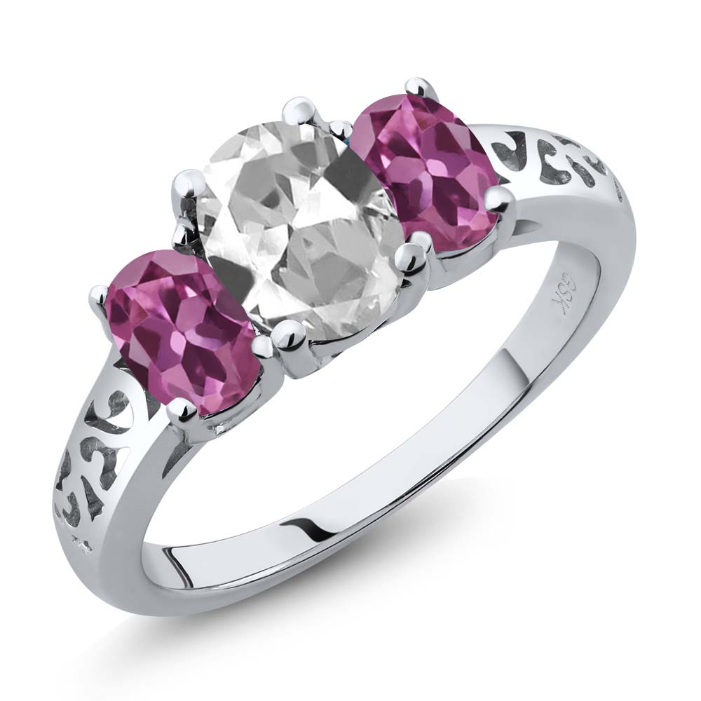 2.30 Ct Oval White Topaz Pink Tourmaline 18K White Gold 3-Stone Ring by