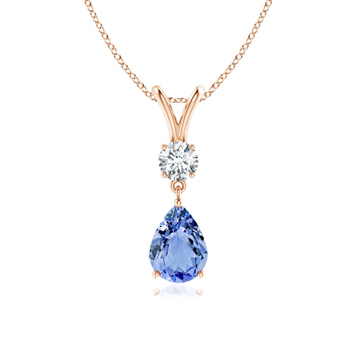 Angara Pear Drop Tanzanite and Diamond Necklace in Rose Gold