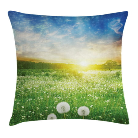 Spring Throw Pillow Cushion Cover, Dandelion Flower Field Meadow Rural Grass Bright Sunset Clouds Idyllic Image, Decorative Square Accent Pillow Case, 18 X 18 Inches, Lime Green Blue, by - Decorative Grass