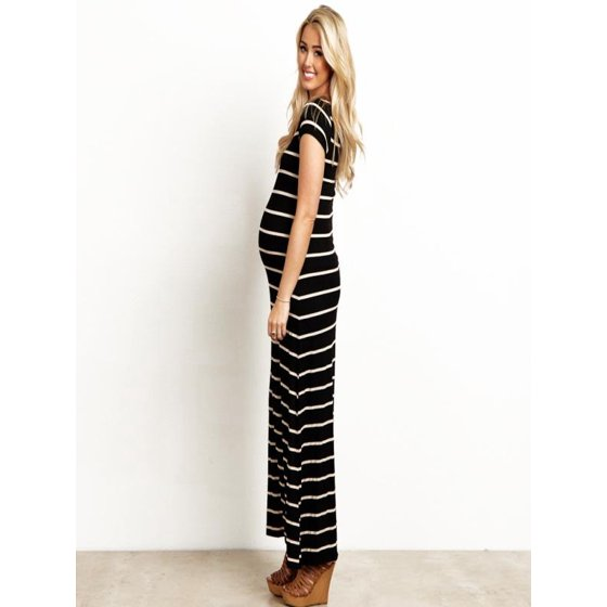 4f87e03e75f Mosunx - Mosunx Women s Fashion Maternity Striated Comfortable Pregnancy  Clothes Long Maxi Dress - Walmart.com
