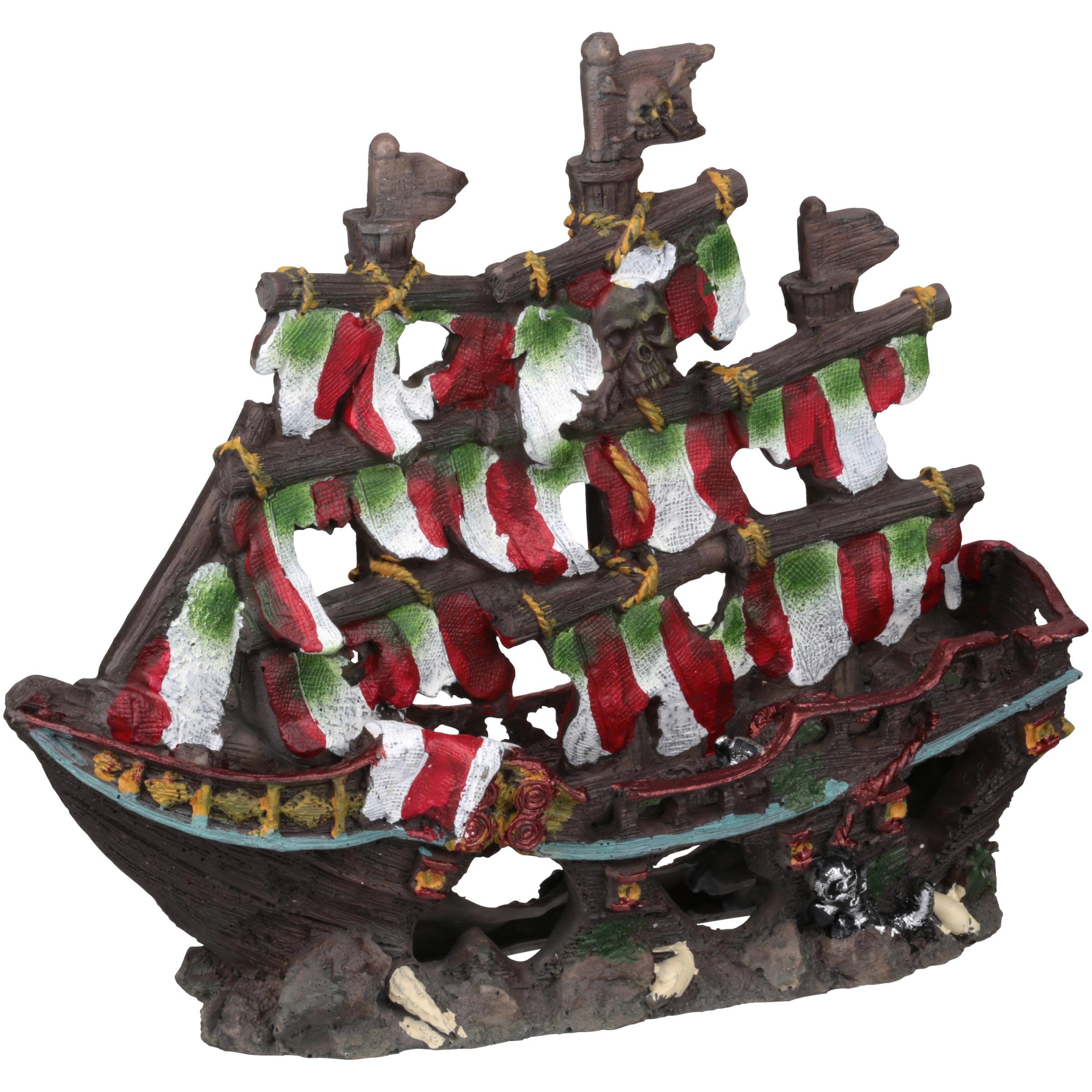 Penn Plax Deco Replicas Striped Pirate Ship Aquarium Ornament