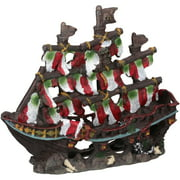 Penn-Plax Deco-Replicas Striped Pirate Ship Aquarium Ornament, Small