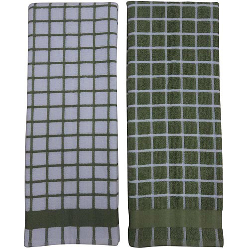Better Home and Gardens Check Kitchen Towels, Green, 2-Pack