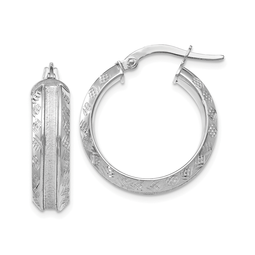 5.5mm x 20mm(3/4 Inch) 14k White Gold Diamond-Cut & Satin Round Hoops