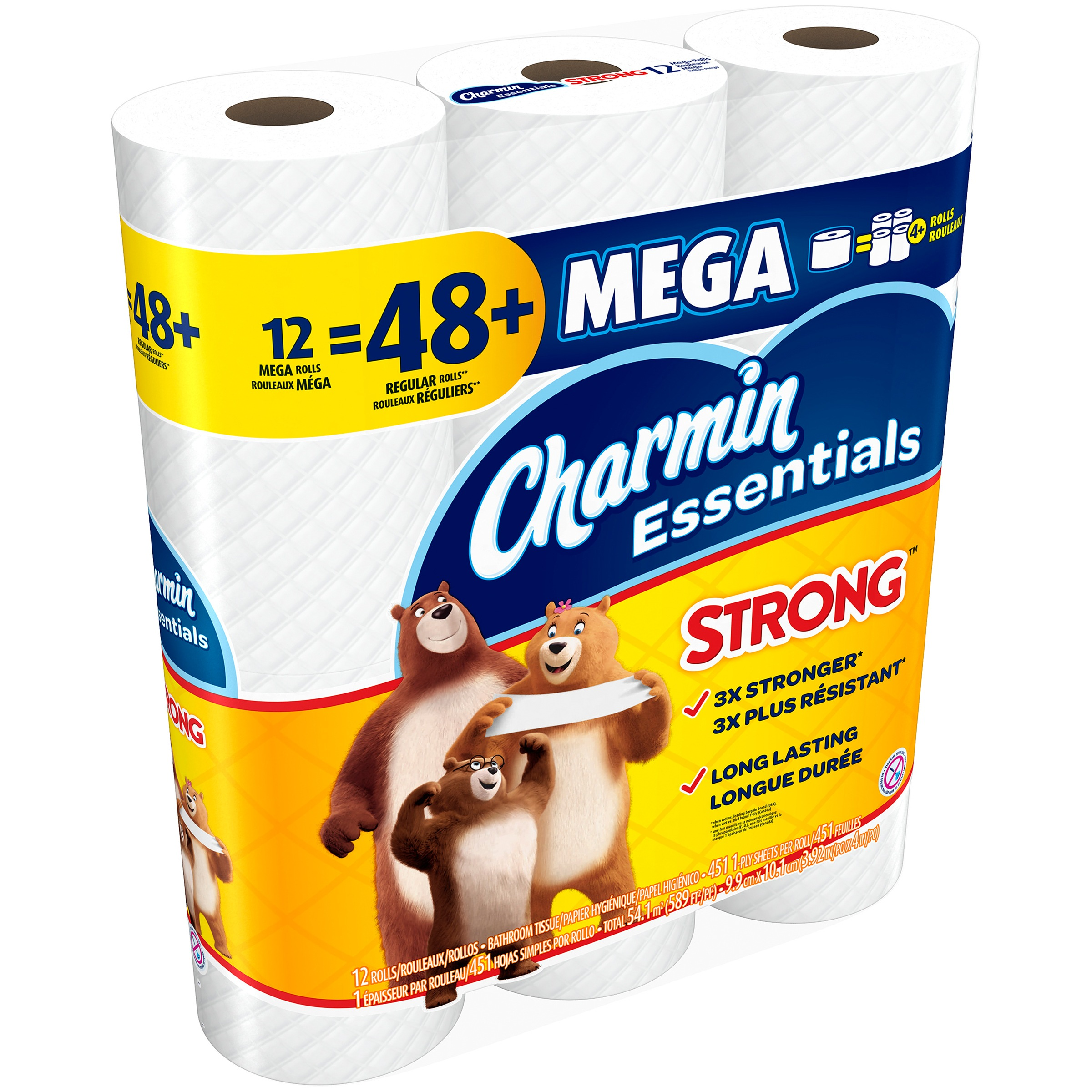 Charmin Essentials Strong Toilet Paper, 12 mega rolls by Procter & Gamble