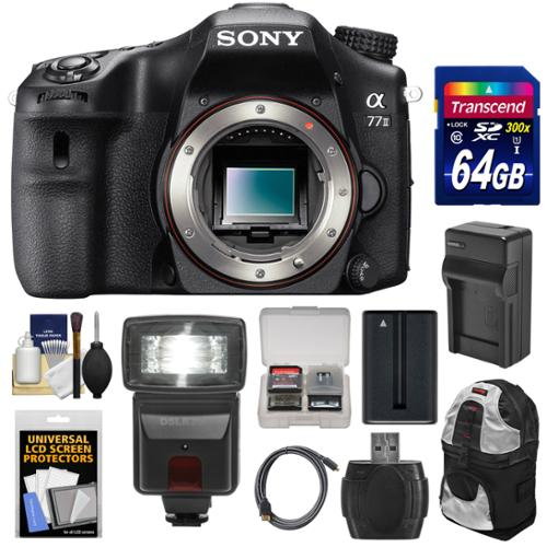 Sony Alpha A77 II Wi-Fi Digital SLR Camera Body with 64GB Card + Battery + Charger + Backpack + Flash + Kit