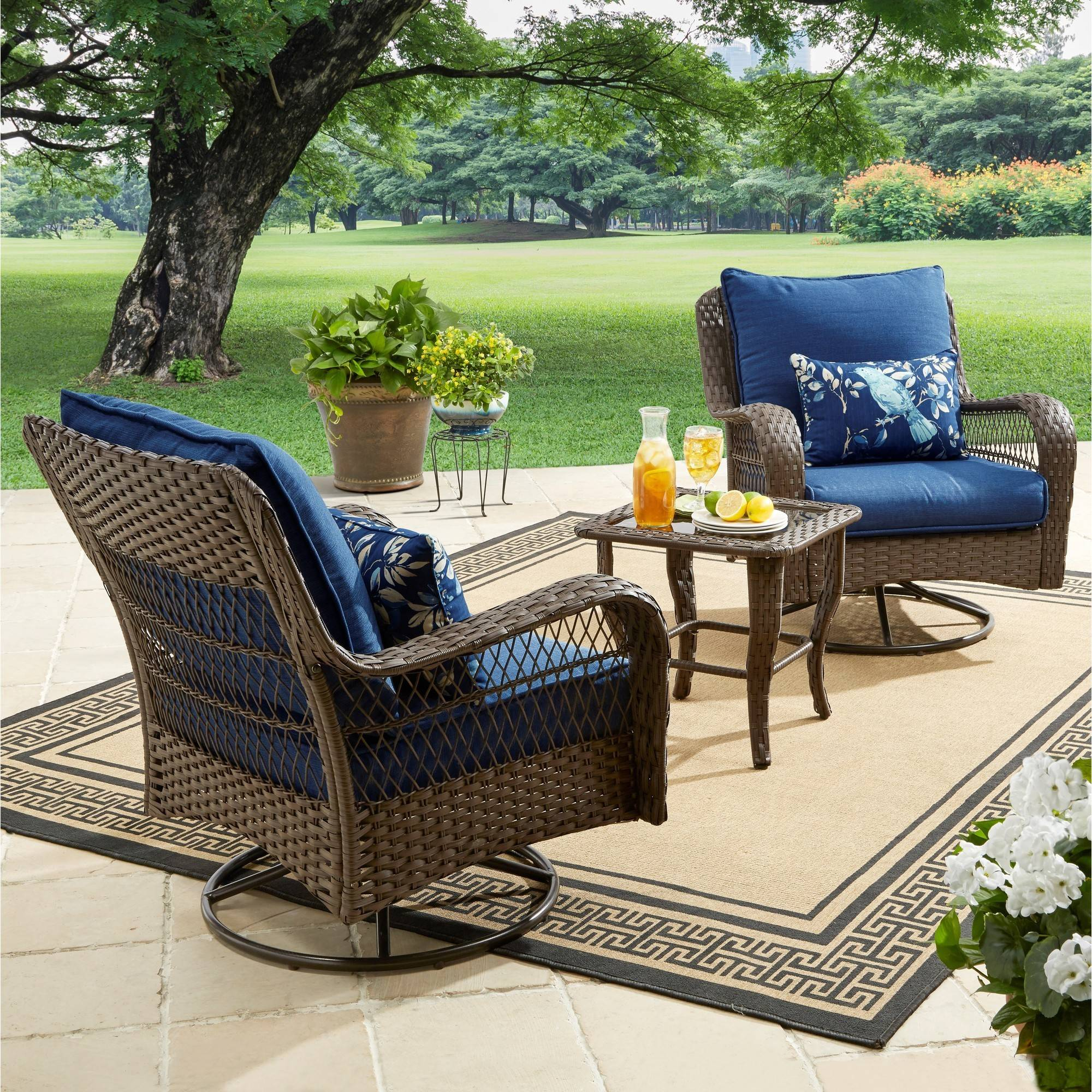 Better Homes And Gardens Colebrook 3 Piece Outdoor Chat Set, Seats 2