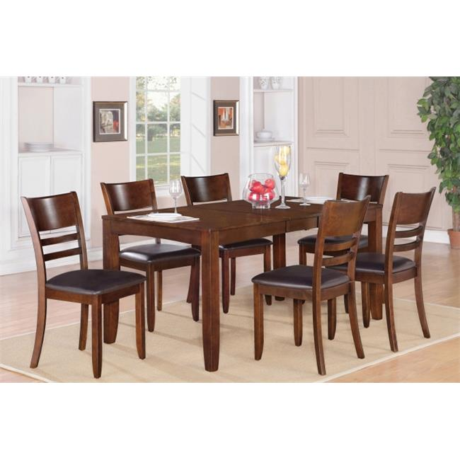East West Furniture LYFD5-ESP-LC 5-Piece Lynfield Rectangular Dining Table with Butterfly leaf & 4 Faux Leather upholstered Seat Chairs in Espresso Finish