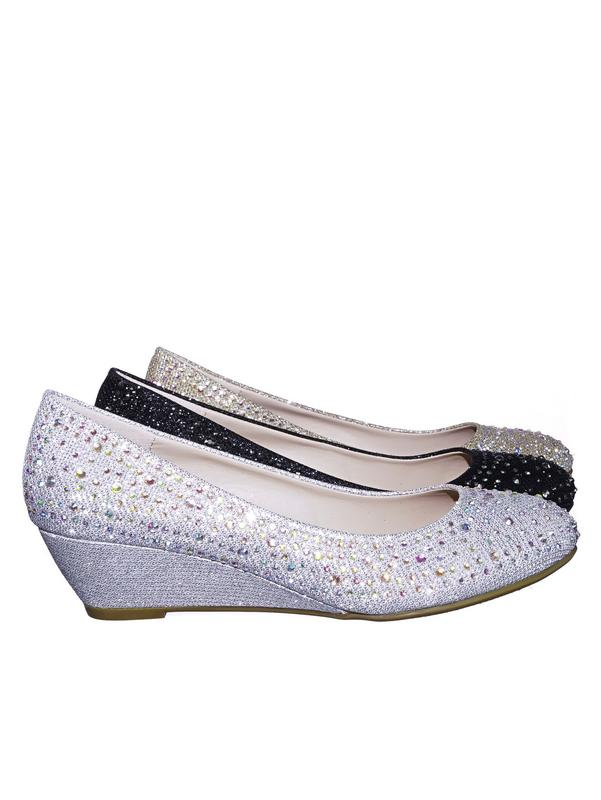 Fisher2 by Forever Link, Rhinestone Embellished Mesh Glitter On Low Wedge Dress Pump