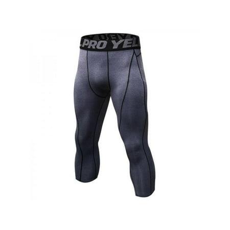 Ropalia Men's Compression Capris Gym Sports Tights Running Basketball 3/4 Pants Tight (Compression Capri Tights)