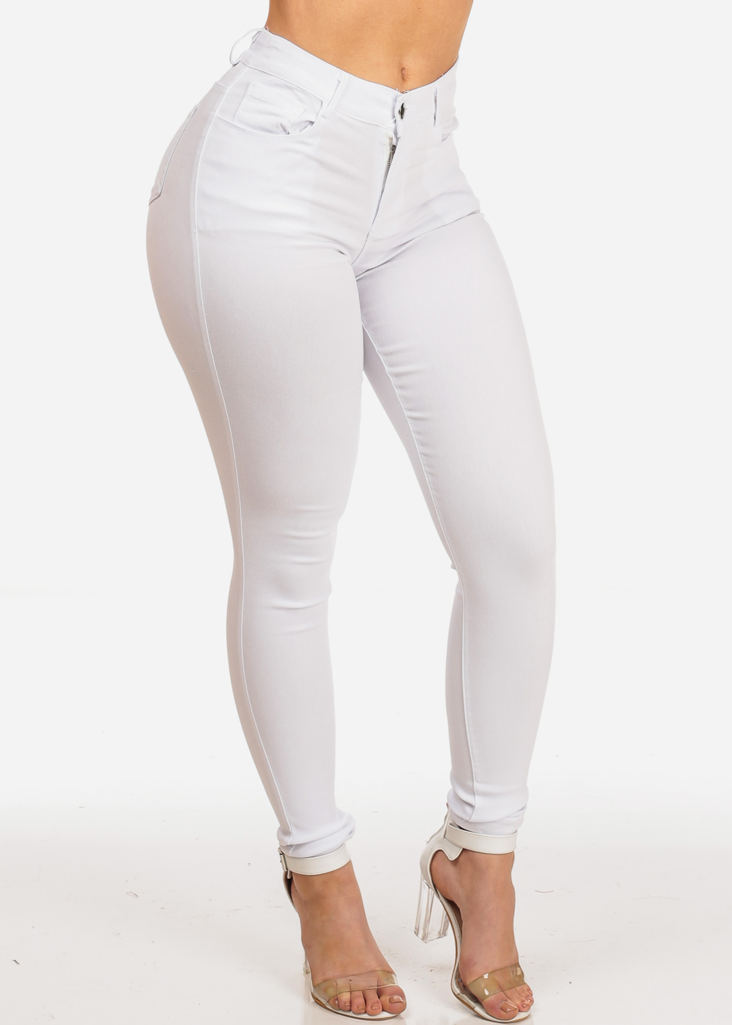 Womens Juniors Women's Junior Night Out Club Wear Stretchy Solid White High Waisted 1 Button Jeggings Skinny Jeans 11067V