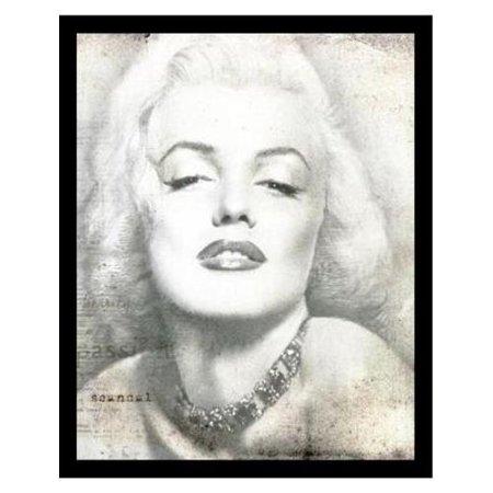 BuyArtForLess Marilyn Monroe Black and White Poster Framed Wall Art ...