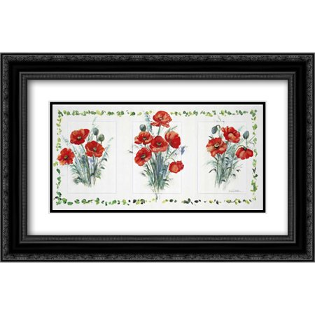 - Deco floral I 2x Matted 24x16 Black Ornate Framed Art Print by Schottler, Katharina