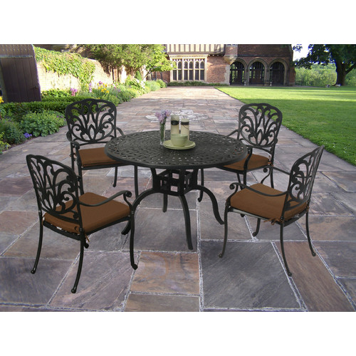 Darby Home Co Bosch Powder Coated 5 Piece Dining Set with Cushions