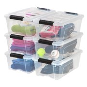 IRIS USA 12 Qt Clear Plastic Storage Box with Latches, 6 Pack