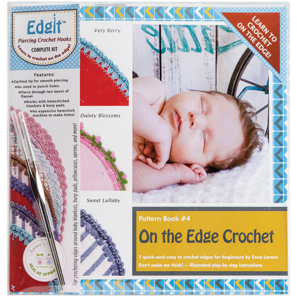 AMMEES BABIES Edgit Piercing Crochet Book, Hook and Burp Cloth Kit Multi-Colored