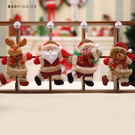 BadPiggies 4Pcs Christmas Tree Ornament Sets Santa Claus Snowman Reindeer Toy Doll for Xmas Party Holiday Decor ()