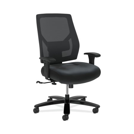 HON Crio Series High-Back Big and Tall Chair - Leather Mesh Back Computer Chair for Office Desk, Black
