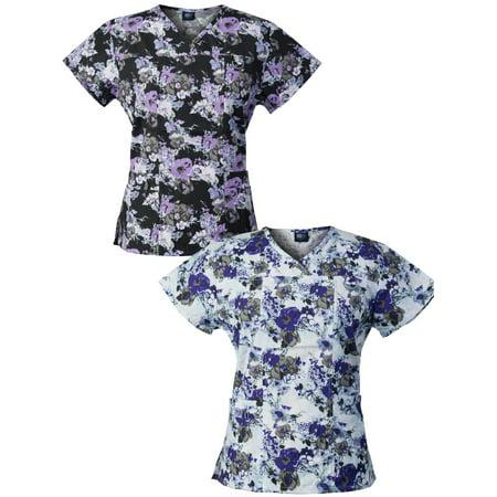 Women's 2-Pack Printed Floral Scrub Tops, Style - Disney Halloween Scrubs