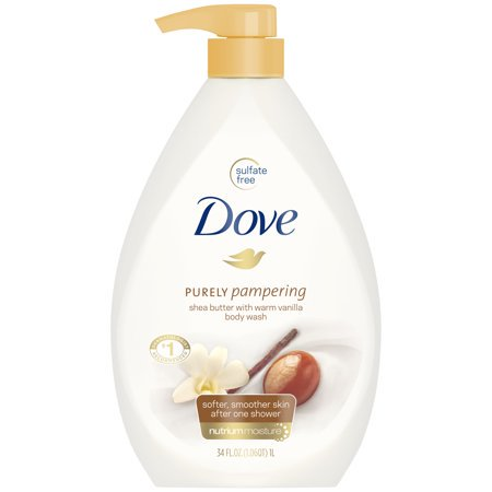 (2 Pack) Dove Purely Pampering Shea Butter with Warm Vanilla Body Wash Pump, 34 oz