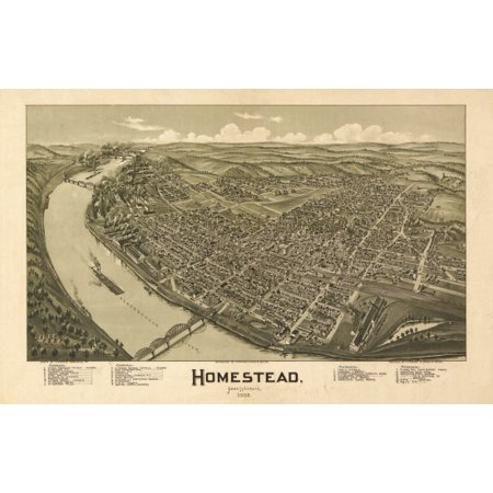 Old Map Of Homestead Pennsylvania 1902 Allegheny County Canvas Art     36 X 54