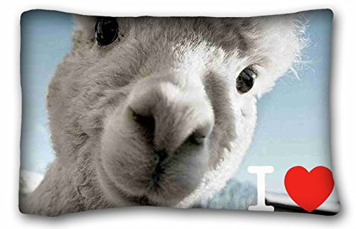 WinHome I Love Llama Pillowcase Zip Custom Zippered Pillow Cover Cases Size 20x30 Inches... by WinHome
