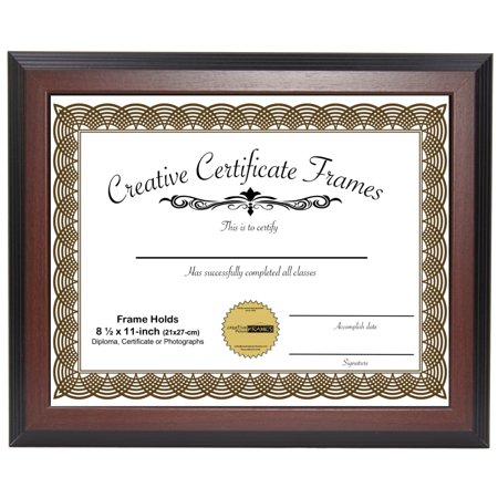 CreativePF [ZTQP-8.5x11mh] Mahogany Document Frame Displays 8.5 by 11-inch Certificate, Graduation, University, Diploma Frames with Stand & Wall (Diploma Certificate Frames)