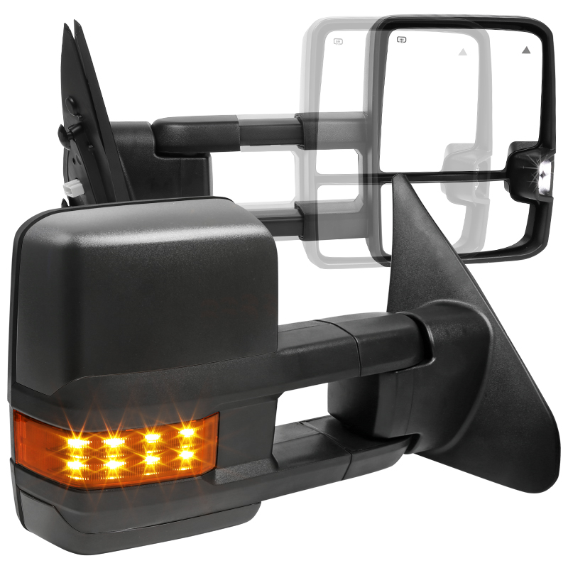 PAIR SET SEQUOIA Perfit Zone Towing Mirrors Replacement Fit for 2007-2017 TUNDRA POWER HEATED,W//AMBER SIGNAL,BLACK