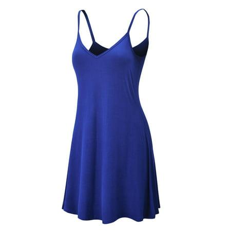 MBJ WDR1090 Womens V Neck Spaghetti Strap Tunic Short Dress XL ROYAL_BRITE